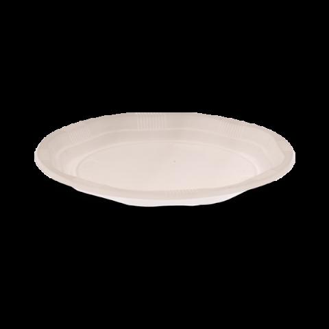 צלחות פלסטיק גדולה לבנה 50 צלחות בחבילה