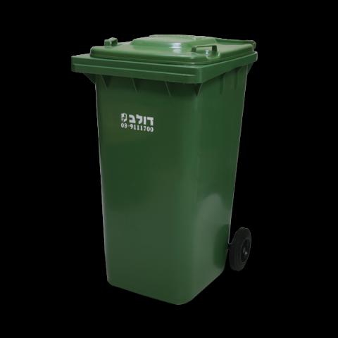 פח אשפה 240 ליטר מכסה ירוק עם גלגלים