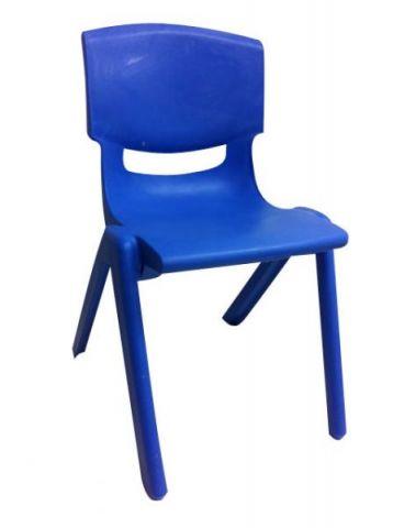 """כיסא עמיד יצוק לבית ספר יסודי כחול גובה 42 ס""""מ [ה-ט]"""