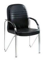כיסא גלעד מרופד  דמוי עור שלד כרום