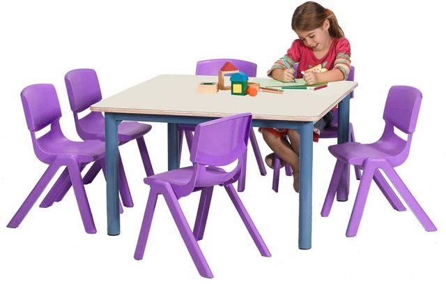 שולחן גן 90X90 מתכת עבה + סנדויץ' (שנהב)