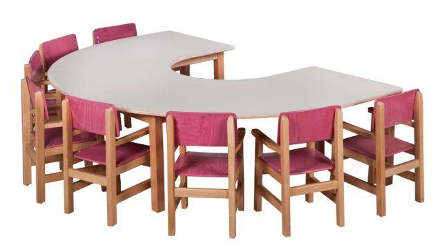 שולחן פרסה ל- 8 רגל עץ