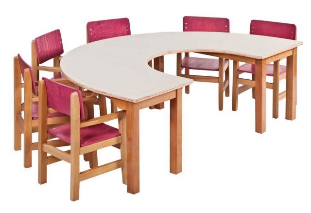 שולחן פרסה ל- 6 רגל עץ